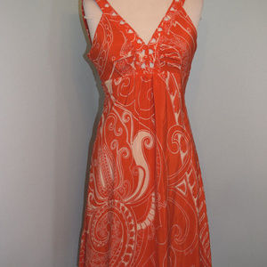 Beth Bowley Anthropologie Orange Silk dress XS 2